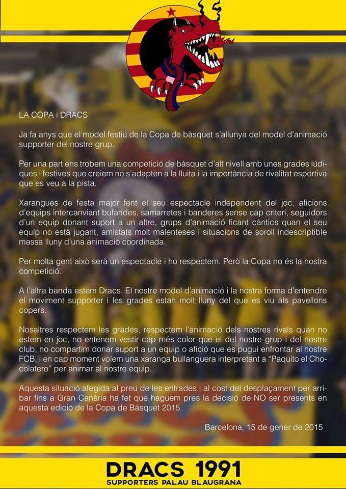 Comunicat Dracs 1991 Copa ACB 2015